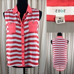 Edge Coral and White Striped Blouse.